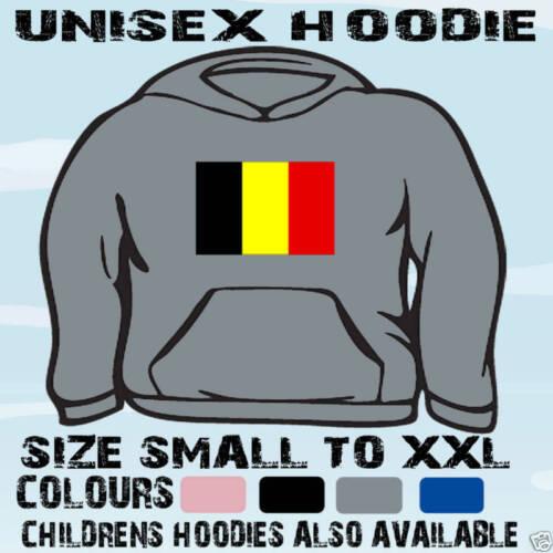 BELGIUM FLAG EMBLEM UNISEX HOODIE HOODED TOP