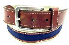 $199 TOMMY HILFIGER Men's BEIGE BLUE CANVAS LEATHER DRESS CASUAL BUCKLE BELT 32