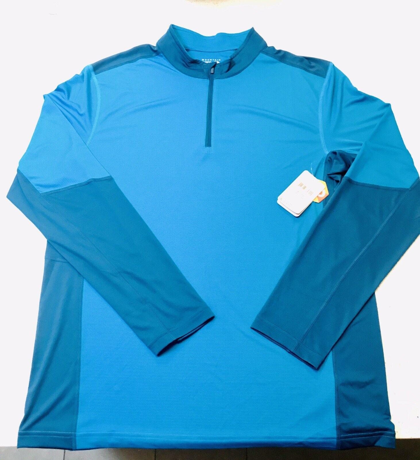 Mountain Hardwear Outdoor L S  Half Zip Hiking, Neon bluee XL MSRP  55.00  no tax