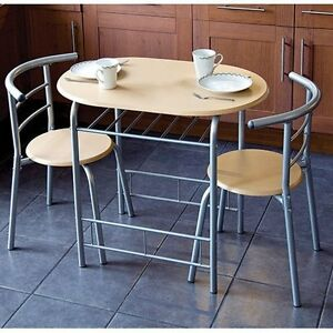 Details About 3 Piece Modern Dining Table And 2 Chairs Set Light Oak Metal Frame Kitchen