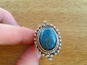 Tibetan Silver Blue Turquoise Ring Size  P - Bridgend, United Kingdom - Tibetan Silver Blue Turquoise Ring Size  P - Bridgend, United Kingdom
