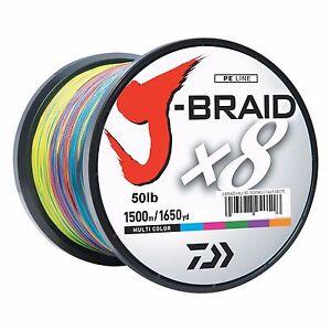 Daiwa-J-BRAID-Braided-MULTI-COLOR-Line-50lb-1650yd-1500-Meter-JB8U50-1500MU