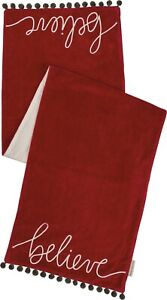 NWT-BELIEVE-RED-VELVET-TABLE-RUNNER