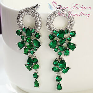18K-White-Gold-GP-Made-With-Swarovski-Crystal-Elegant-Green-Chandelier-Earrings