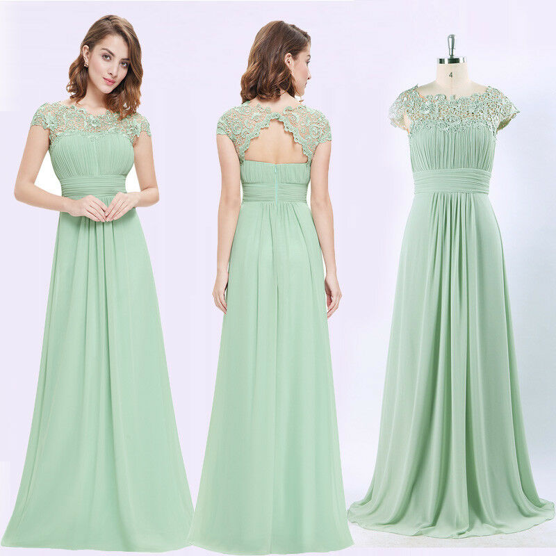 9b7661f724 Long Cap Sleeves Bridesmaid Dresses Mint Green Gowns 09993 Ever ...