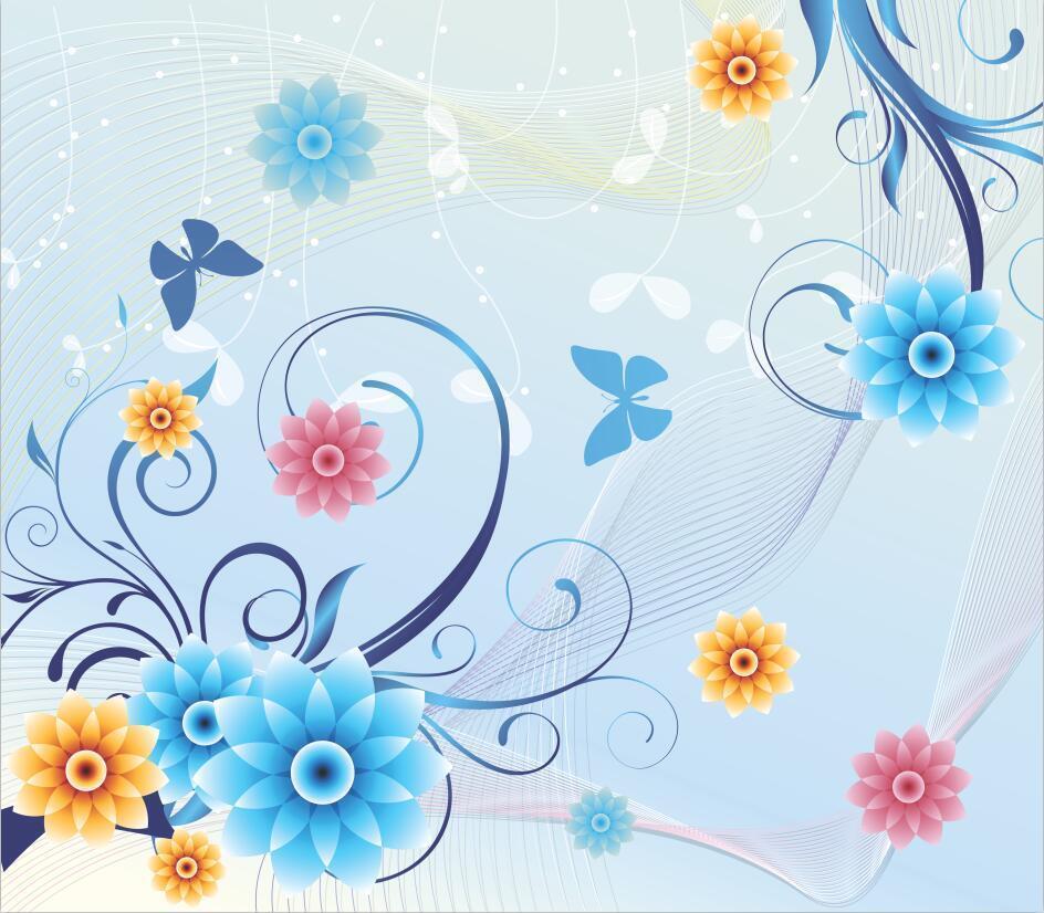 3D Flowers Dancing Lines 793 Paper Wall Print Wall Decal Wall Deco Indoor Murals
