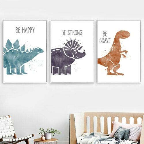 Cute Dinosaur Quote Canvas Print Nursery Poster Wall Art Kids Room Decor Picture