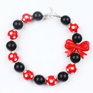 Grils-Cute-Red-Boknot-Acrylic-Beads-Chunky-Bubblegum-Necklace-Birthday-Gift