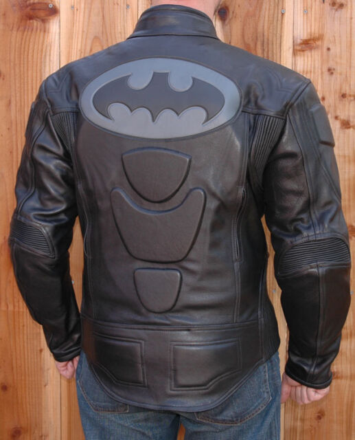 Naked Leather Batman Motorcycle Riding Racing Jacket Coat With GP Armor