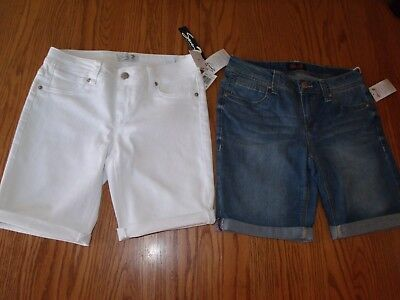 Nwt Womens Seven7 Seven Stretchy Denim Shorts Tyler Blue Optic White 4 6