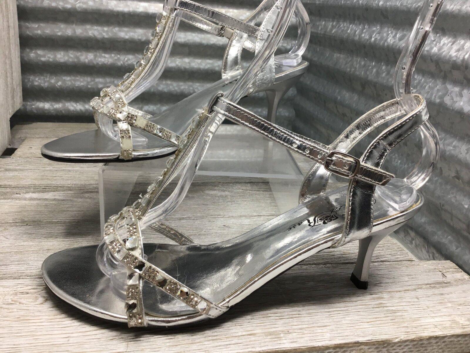 Wild Rose Formal Sandal Silver Rhinestone T Strap Wedding Slingback Size 7.5