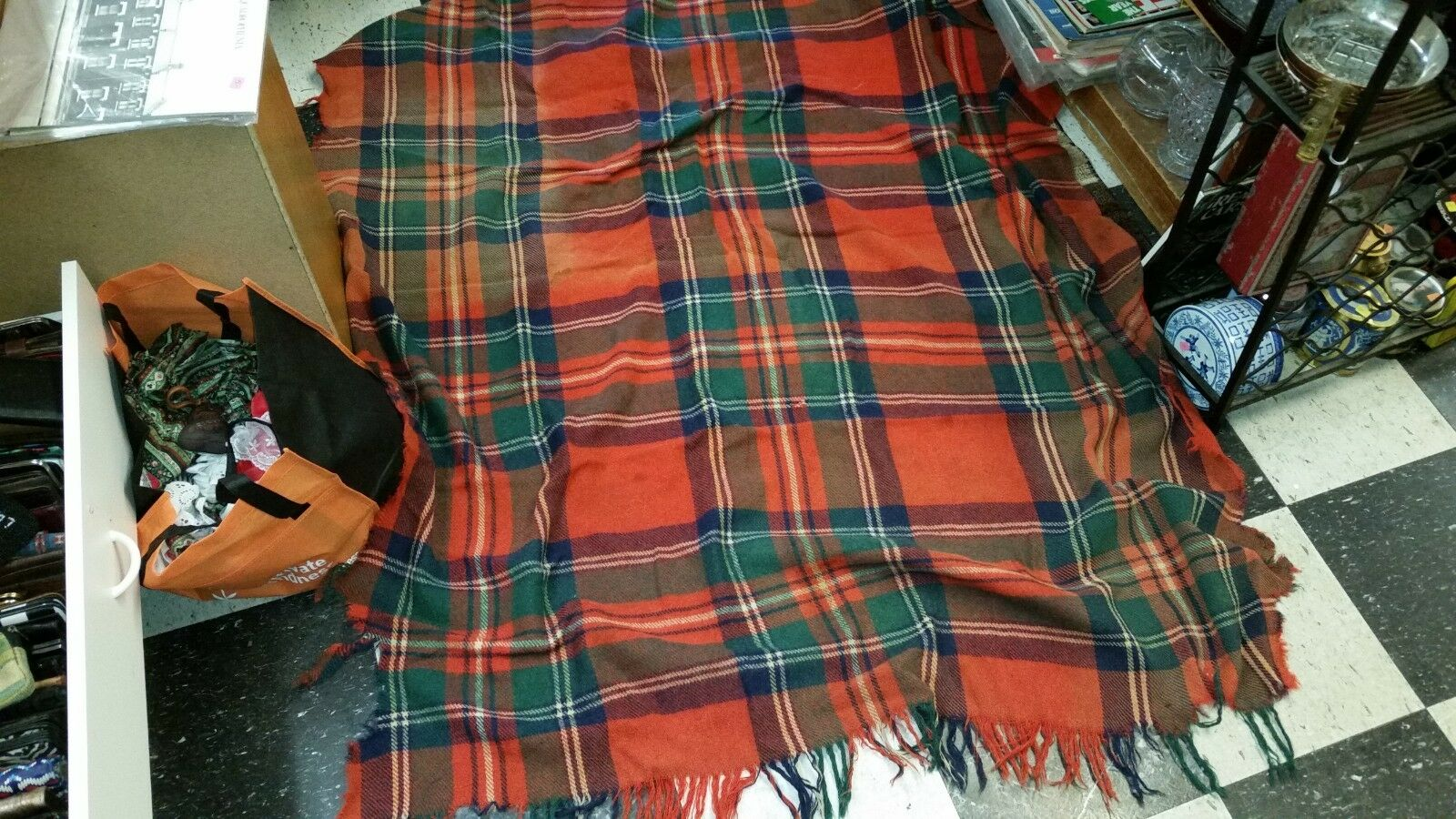 Antique Red Green White Plaid Riding Blanket by Troy Robe As Is