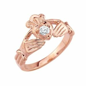 14k Rose Gold High Polished Claddagh Ring with Round Diamond 0.22ct