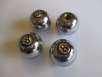 LARGE CHROME 8 BALL VALVE CAPS SET OF 4 HOTROD CUSTOM CHEV HOLDEN FORD