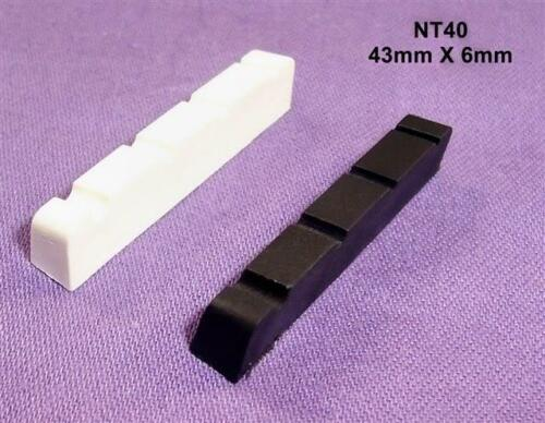 43mm X 6mm GRAPHITE COMPOUND BASS GUITAR NUT// BLACK OR WHITE NT40