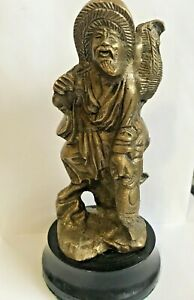 Vintage-Brass-Asian-Chinese-Fisherman-Old-Figurine-Paperweight-or-DoorStop