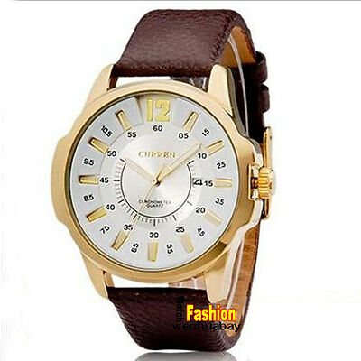 CURREN Men Quartz Wrist Watch Date Waterproof Leather Mens Business Casual Watch