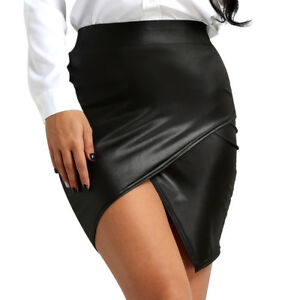 Womens-Sexy-Wet-Look-Leather-High-Waist-Side-Slit-Pencil-Bodycon-Hip-Mini-Skirt
