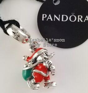 c17415416 DISNEY Genuine PANDORA Red SANTA MICKEY & GIFT BAG Dangle Charm ...