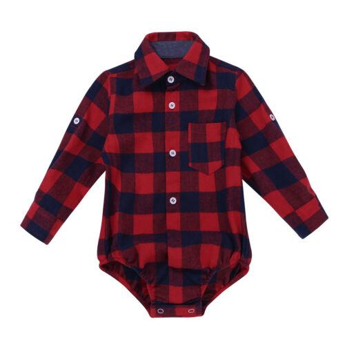 Newborn Kids Baby Boys Girls Lapel Plaid Shirt Gentleman Romper Jumpsuit Formal