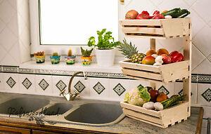 Image Is Loading 3 Tier Wall Mountable Wooden Vegetable Fruit Rack