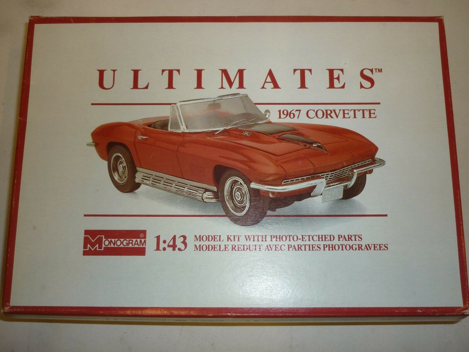 Monogram ultimate's un-made plastic kit of a 1967 Chevrolet corvette.  boxed