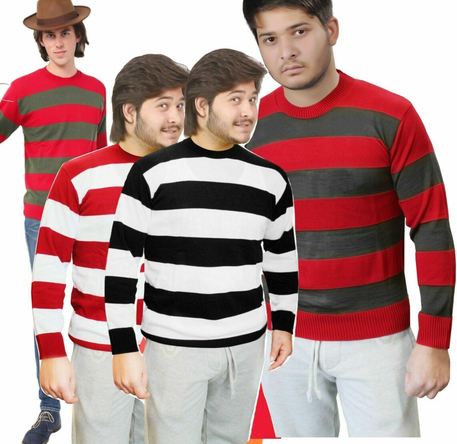 Fancy Dress Freddy Krueger Nightmare Sweater CONVICT Horror Jumper Halloween NEW
