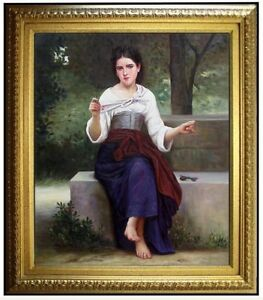 Framed-Quality-Hand-Painted-Oil-Painting-Repro-Bouguereau-Thoughts-20x24in