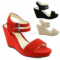 LADIES WOMENS STRAPPY WEDGES MID HIGH HEEL OPEN TOE PLATFORM SANDALS SHOES SIZE