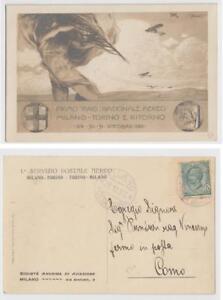 Pioneer-Poste-aerienne-1911-Milano-Torino-pilote-carte-Nice-Sassone-P10-600-euros
