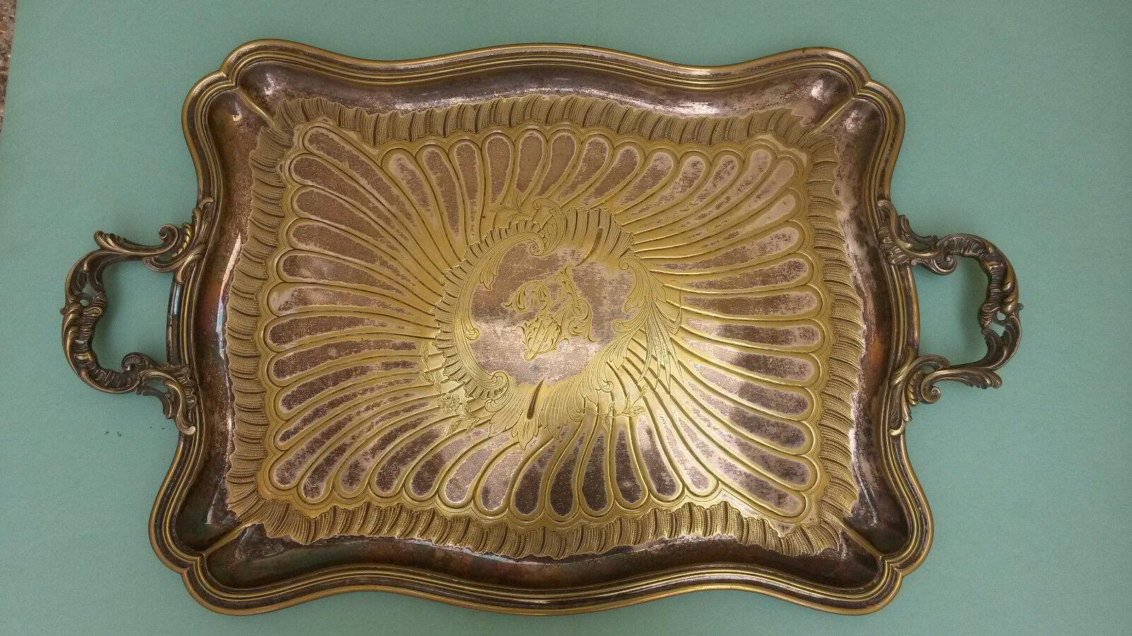 Plateau 75 x 47 cms cafetière théière sucrier métal argenté poincon orfèvre