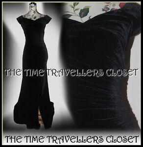 NEW-BIBA-Black-Stretch-Velvet-Ruched-Corset-Split-Maxi-Gown-Long-Dress-UK-8-36-4
