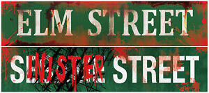 2PC Metal Horror Street Sign Set Bloody Signs Vintage Halloween Prop Decor