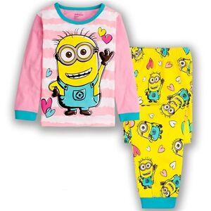 MINION-Nina-ROSA-Set-Pijama-ropa-para-dormir-NUEVO-Tamano-2-3-4-5-6-7
