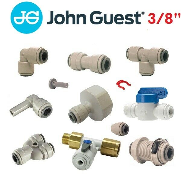 """JG Push-Fit Pipe Connectors. John Guest 3//8/"""" to 3//16/"""" Elbow Beer Line Reducer"""