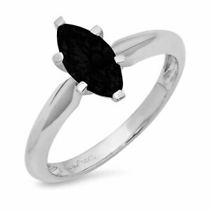 1 ct Marquise Cut Onyx Gem Solid 18k White Gold Wedding Promise...
