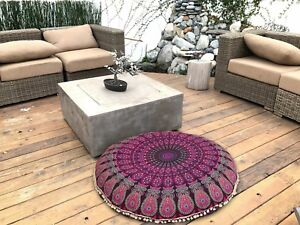 Details about Indian Handmade Round Floor Seating Cushion Pillow Throw  Cover Bohemian Boho