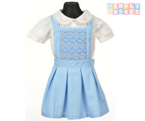 95e9b1d76ea9 Girls Hand Smocked Pinafore Dress Set Embroidered Blue Flower Romany ...