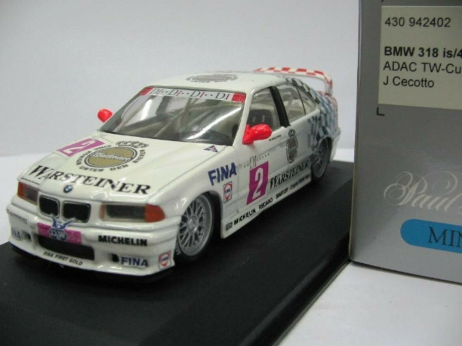 WOW EXTREMELY RARE BMW E36 1994 318iS  2 Cecotto Winner SPA STW 1 43 Minichamps