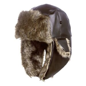 d1a69048 Winter Leather Faux Fur Russian Ushanka Cossack Cap Trapper Aviator ...