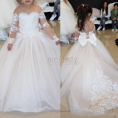 Flower Girl Princess Dress Wedding Birthday Party Pageant Dance Formal Tutu Gown