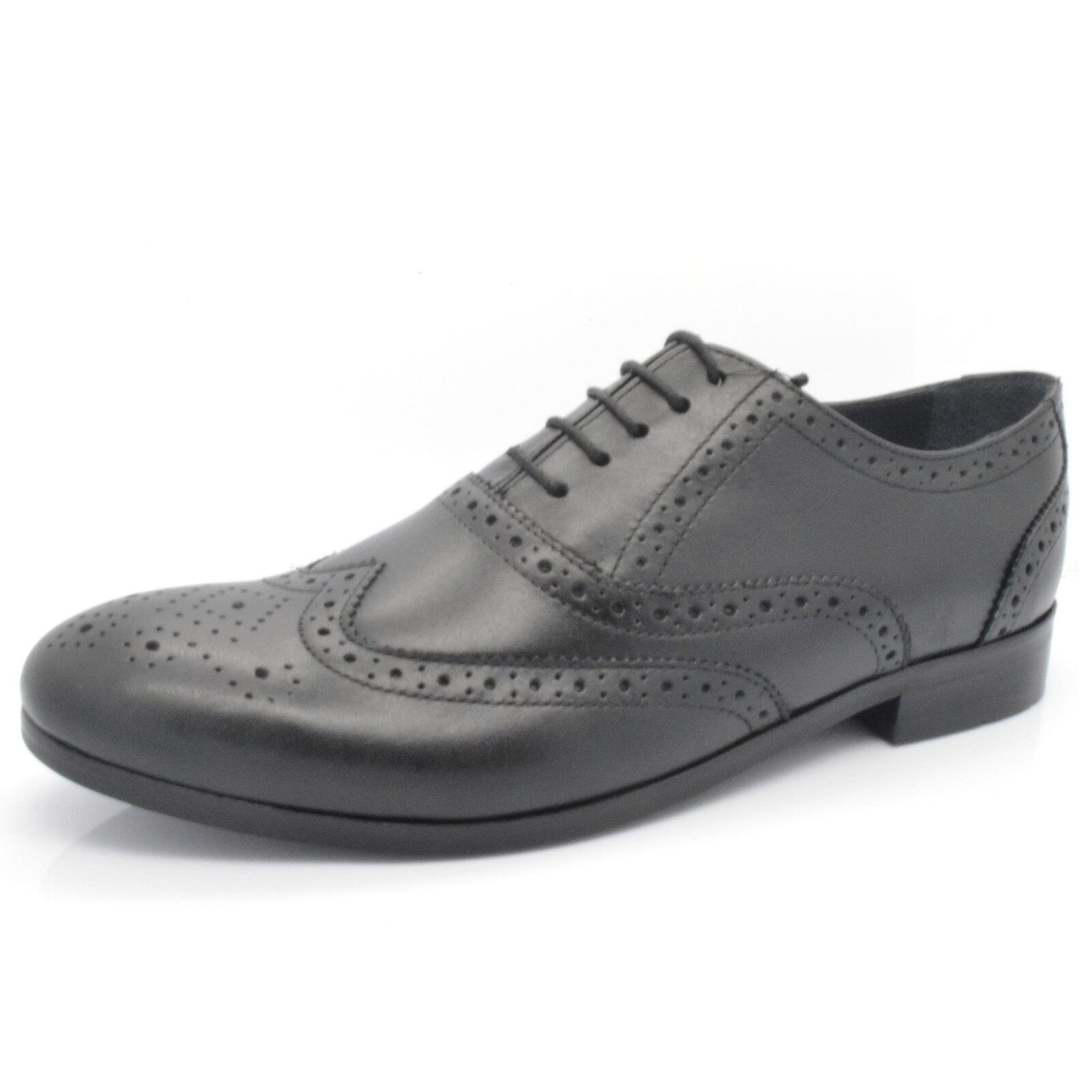 Mens Ex-M\u0026S Black Leather 1260 Lace Up