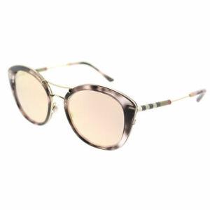 95f2fc5e93d Burberry BE 4251Q 36637J Pink Havana Plastic Round Sunglasses Gold ...