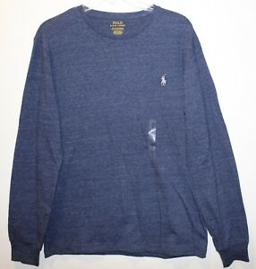 Polo-Ralph-Lauren-Mens-Size-S-Blue-Heather-L-S-Crewneck-T-Shirt-NWT-49-Size-S