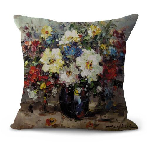 Oil Painting Color Flower Series Linen Pillow Cover Sofa Decorative Pillowcase