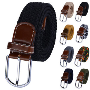 Moderna-Para-Hombre-Elastico-Trenzado-Elastico-Tejido-Cinturon-De-Hebilla