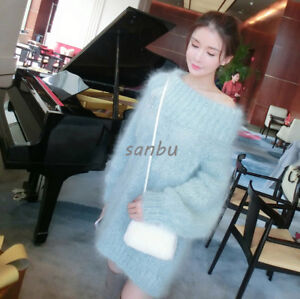 New-Womens-Mohair-Sweater-Jacket-Pullover-Knitwear-Loose-Off-Shoulder-Dress-Coat