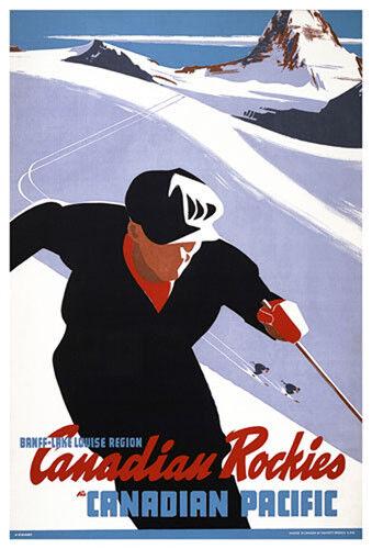 Banff-Lake Louise CANADIAN ROCKIES Vintage 1940s Skiing Travel POSTER Reprint