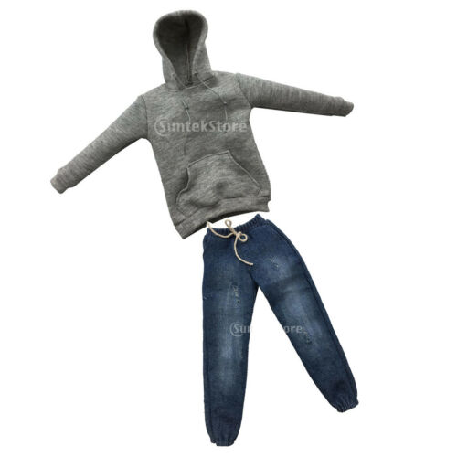 1//6 Male Clothes Hooded Hoodie Jeans Outfit for 12/'/' Action Figure Doll Gray