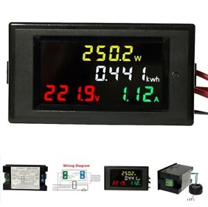 AC 80-300V Digital Ammeter Voltmeter Volt Amp Power Kwh Frequency Factor 100A CT